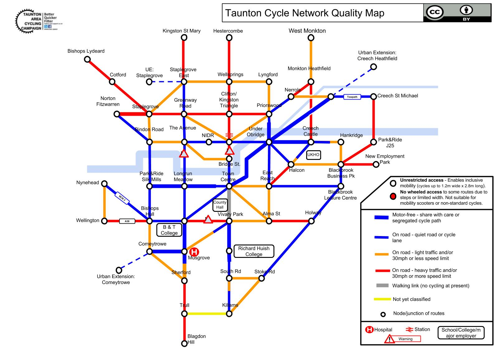 TACC Taunton Cycle Network Quality Map v5