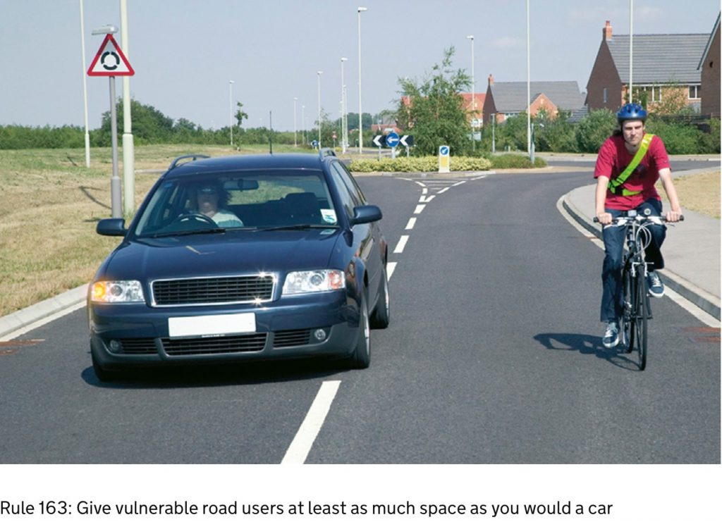 Give vulnerable road users at least as much space as you would a car