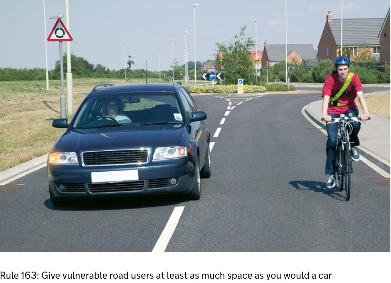 Showing distance for cyclists and cars