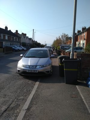 Illegal parking on pavement on Cheddon Road