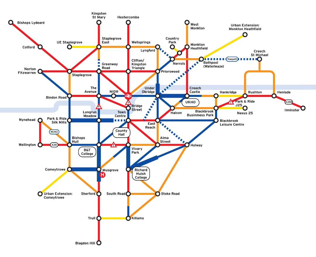 Taunton Area Cycling Network Tube Map