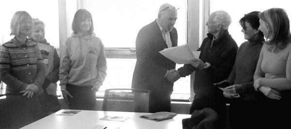 Presentation of TACC petition to John Woodman